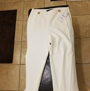 White trousers by zara with leg opening size Xs